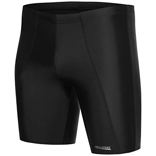 Aqua Speed Jungen Swim Shorts eng lang | Wettkampf Schwimmhose Trunk Herren | Boys Men Swimwear I Schwarze Coole Badebekleidung mit UV-Schutz | Moderne Badepants Jungs Teenager I Long, Gr. M, Black -