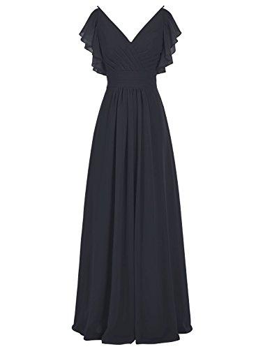 Bbonlinedress Lang Chiffon V-Ausschnitt Brautjungfern Kleid Ruched Prom Kleid Schwarz
