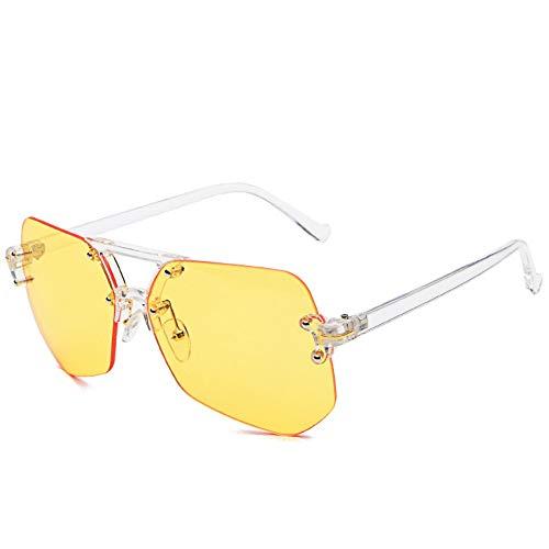 Sonnenbrille,Rahmenlose Sonnenbrille Weibliche Persönlichkeit Tide Star'S New Sport Sonnenbrille Männer Uv-Schutz Gelb
