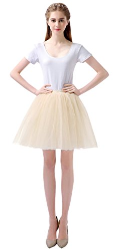 (Feoya Damen Mädchen Kurz Tutu Rock Tüllrock Multi-Schichten Tütü Crinoline Minirock 1950s Vintage Ballett Tanzkleid Unterrock Faschings Kostüm)