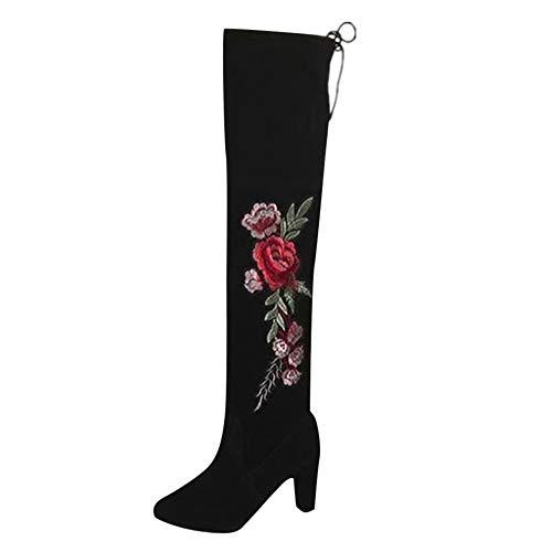 Squarex Damen Schuhe mit Rosen-Stickerei, Oberschenkelhohe Stiefel über das Knie Stiefel Flock High Heels Schuhe 7 UK/ 41 EU/ 43CN Schwarz