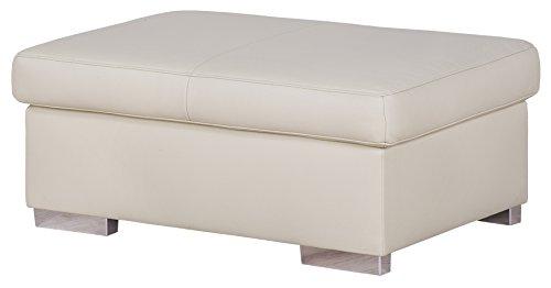 Cavadore 5017 Hocker Cattwolk, Punch mit Poroflex Softy, 101 x 42 x 68 cm, altweiß