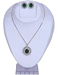 ca27b7c58 Nakit Designer Stylsih A.D (American Diamond) Oval Stone Studded with Green  Stone Pendant Set Necklace Neck Piece for…
