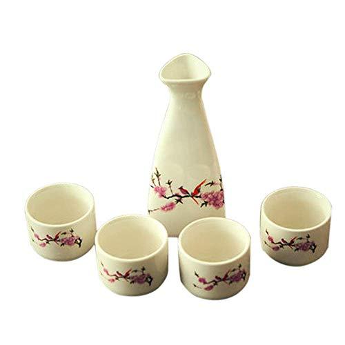 YUTYJGH Japanisch Sake Set Weiß Und Rosa Blüte – Einschließlich Sake Pot Sake Cup Glas Wasserkocher Glasschale