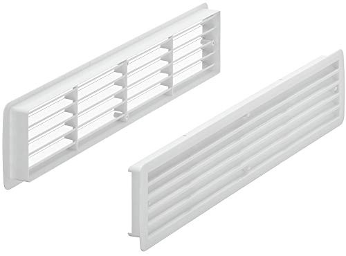 Lüftungsgitter Tür-Gitter weiß Abluftgitter Kunststoff ABS   Belüftungsgitter eckig   457 x 92 mm   Türlüftung für Türdicke 35 – 40 mm   MADE IN GERMANY   1 Stück - Türlüftungsgitter mit Schrauben
