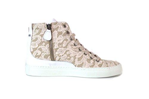Scarpe donna Twin-Set Sneakers alte in pizzo e camoscio - Colore Beige Beige