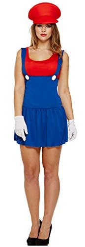 1990 Best Kostüm - Fancy Me Damen Sexy Mario Luigi 1980s Jahre 1990s Henne Do Halloween Kostüm Kleid Outfit - Rot, One Size (Best fits UK 8-12)