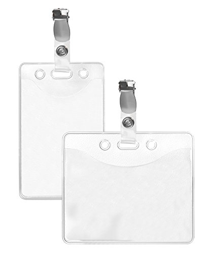 25 x Karteo® Ausweishülle mit Metall Clip | Kartenhülle transparent aus Vinyl | Ausweishalter für Karten DIN A7 ( 74 x 105 mm ) | Kartenhalter horizontal | Kartenhüllen Ausweishüllen für Ausweise Dienstausweise Messeausweise Presseausweise Identitätsnachweise (Karabiner S-clip)