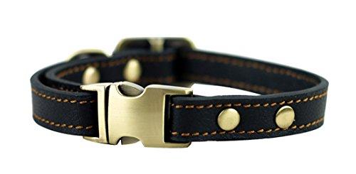 ZEEY Haustier leder halsband für kleine Hunde, justierbares Ansatz 24cm-36cm und 1,5cm breit, Metallschnalle Klassische feste Leder Hundehalsband (Schwarz) (Breites Hundehalsband Schwarz)