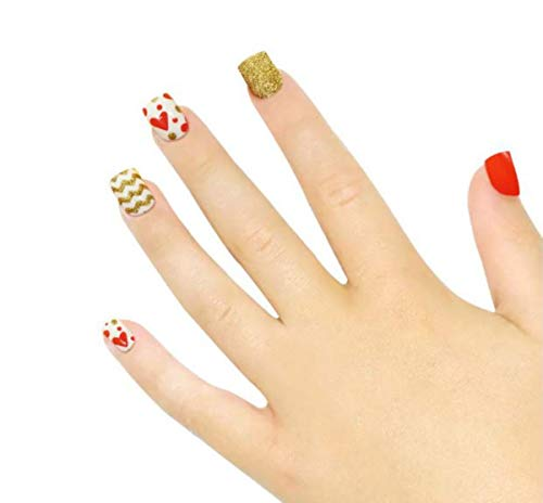 Tokkids 24 pezzi unghie finte per bambine, pre incollato (amore)