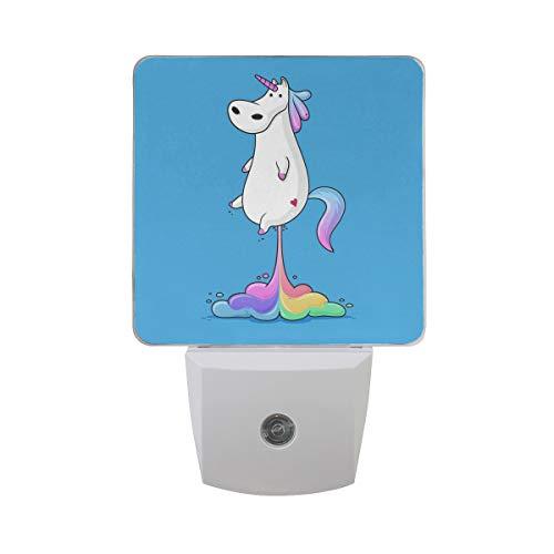 Luz LED de noche con diseño de unicornio y arcoíris automático, luz de noche a amanecer, para dormitorio, bebé, niños, guarderías, escaleras, etc.