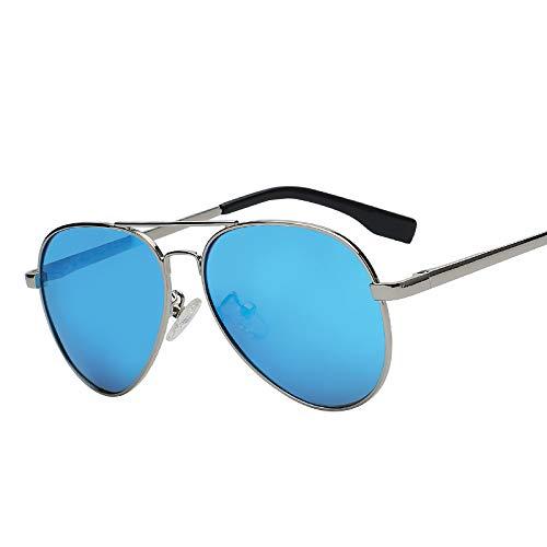Zbertx Top Qualität Unisex Männer Frauen Designer Fashion Pilot Sonnenbrille Sonnenbrille Uv400,Silver W Blue Mirr P