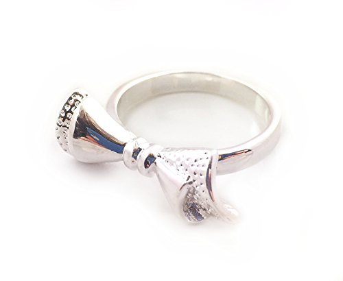 * Regno Unito * placcato argento misura N 1/2Tied fiocco pizzo anello pollice regalo donna nodo