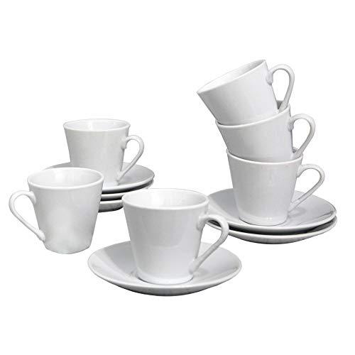 Juego de Café Barista Classic 12 Piezas 6 Tazas y 6 Platos de Porcelana Blanca. Servicio de Café para 6 Personas. Hogar y mas