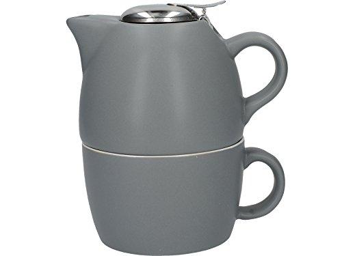 La Kaffeebereiter Barcelona Kollektion Tea for One Keramik Tee Tasse und Teekanne Set–Cool Grey