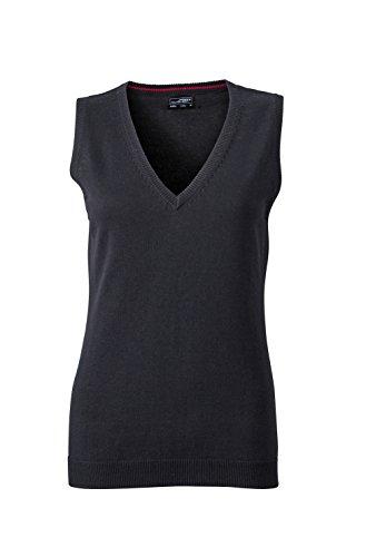 James & Nicholson Damen V-Neck Pullunder Schwarz (Black) 40 (Herstellergröße: XL)