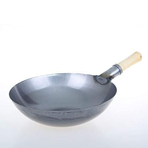 Carbon Steel Wok,China Wooden Handle Pure Iron No Coating Non-stick Wok Hotel Iron Pan Chinese Style Iron Pot Gas Cooker,36cm Non-stick Wok