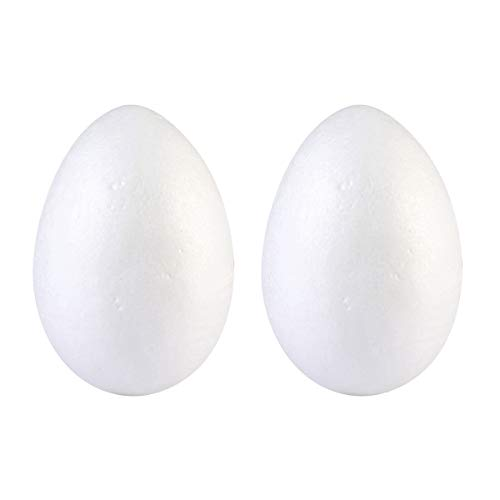 Amosfun - sfere decorative per uova di pasqua, in polistirolo, 20 cm, 2 pezzi, colore bianco