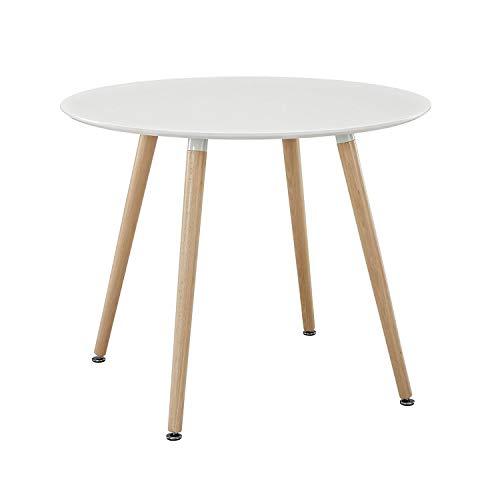 H.J WeDoo MDF Runder Esstisch Buchenholz Esszimmer Tisch Küchentisch Holztisch, 80 * 80 * 75 cm, 4 Beine Natur, Weiß