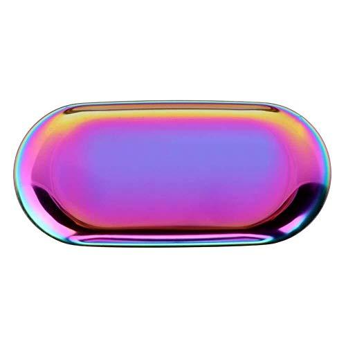 Jishipin Tablett Veranstalter Nordic Style Ablageschale Kosmetik Schmuck Edelstahl Kuchenplatte Für Home Küche (Color : Rainbow S)
