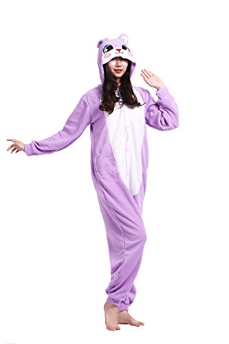 DarkCom Adult One Piece Cartoon Pyjamas Unisex Tier Kostüme Fancy Cosplay Kleid Jumpsuits Lila Hase ()