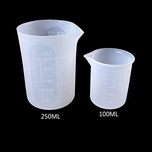 R-WEICHONG Kunststoff-Messbecher, Flexibler Silikon-Messbecher für Kochen, Bäcker, Kunstharz, Schmuck-Werkzeuge, 2 Stück, 100 ml, 250 ml