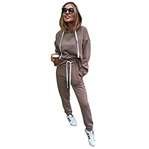 Minetom Damen Vlies Sportanzüge Jogginganzug Trainingsanzug Freizeitanzug Sexy Kapuzenpullover Sweatshirts Tops Lange Hosen Kordelzug Tasche 2 Stück