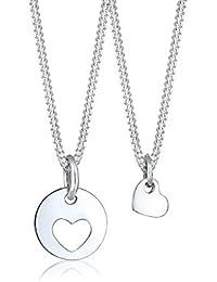 Elli Kinder Echtschmuck Halskette Silberkette Set mit Anhänger Mutter und Kind Kids Herz Cut Out Basic Trend Sterling Silber 925