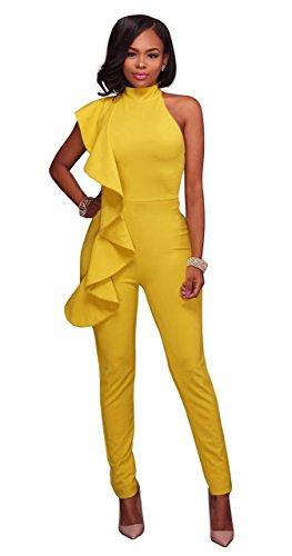 Honeystore Damen's Ärmellos Knielang Masche Vintage Abendkleid Bodycon Partykleid Cocktailkleid Gelb (Kostüme Sie Mieten Online)