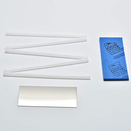 XCMAN Basis-Reparatursatz mit Polyethylene-Stäben, für alpine und Freeride-Snowboards und Skis 5 x Polyethylene-Stäbe, Metallschaber und Schleifschwamm, White PTEX Scraper Sanding