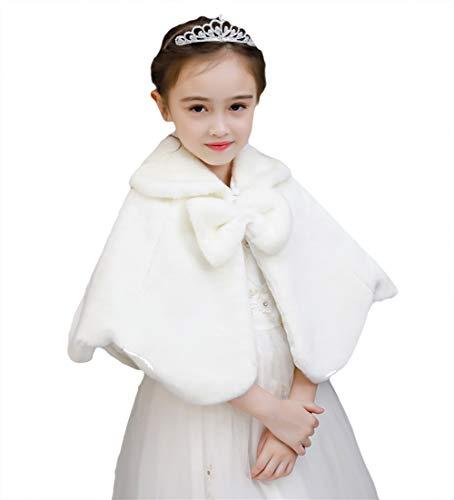 Sk studio bambine giacca pelliccia ecologica avorio bolero stola coprispalle cappotti spalla mantella