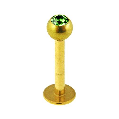 3MM eine Grün Stein Kristallkugel Mit 16 Gauge Gold Eloxiert Chirurgische Stabstahl Labret Tragus Piercing