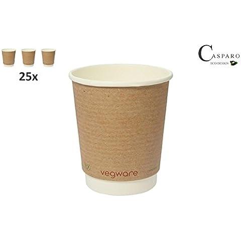 25bicchieri monouso Bio (a doppia parete) | umweltfreundliche Coffee to go tazza | bicchieri di carta per bevande calde | Tazza | Casparo Eco Design Qualità (200ml)