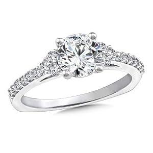 Damen-Ring Verlobungsring 14 Karat (750) Gold Solitär Moissanit 1,35 Karat Weißgold Größe P Q L K J H G M N