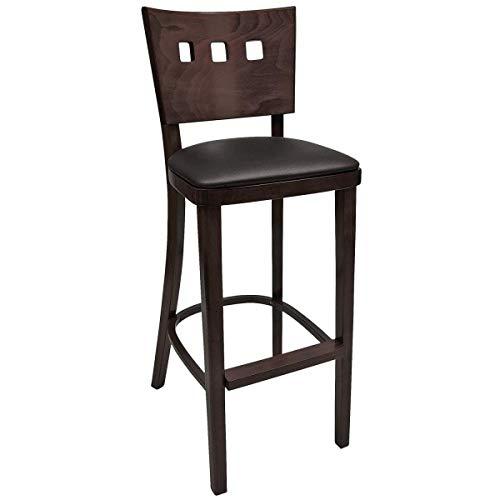 Barhocker Trendy mit Kunstledersitz, 45x54x109cm (BxTxH), Sitz schwarz, Gestell nussbaum, 2 Stück/Packung - Vega-barhocker