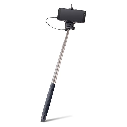 Universale Selfie Stick asta nero con specchio cavo legato (senza Bluetooth) circa 100cm di lunghezza adatto per tutti i telefoni cellulari, come Samsung Galaxy, iPhone, Huawei, LG