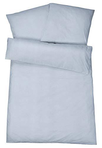 Carpe Sonno Flauschige Biber Bettwäsche 135 x 200 cm Hell-Blau Uni Melange Muster - Winterbettwäsche mit Reißverschluss aus 100% Baumwolle Flanell - 2-TLG Bettwäsche Set mit Kopfkissen-Bezug (Bettwäsche Blau Muster)