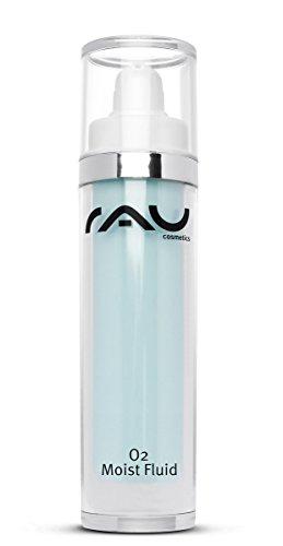 Gesichtscreme mit reiner Hyaluronsäure, sorgt für strahlende & straffe Haut, anti Raucherhaut, nach dem Sonnenbad & zur Abschwächung von Pickel-Malen (Mitesser) - RAU O2 Moist Fluid 50 ml