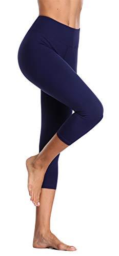 BeautyIn Yogahose für Damen mit elastische Bauch Hohe Taille Sporthose für Laufen Workout (Navy, S) - Navy Blickdichte Strumpfhose