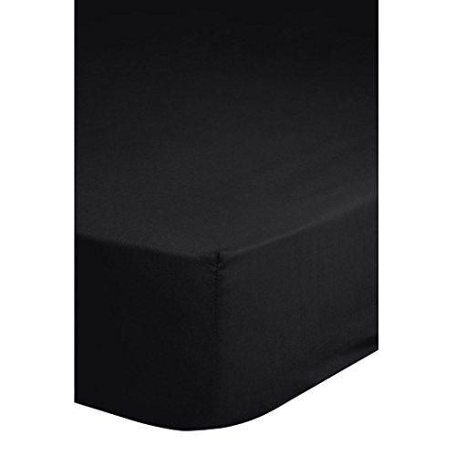 Preisvergleich Produktbild Descanso Spannbettlaken Laken Doppel-Jersey 160 / 180 x 200 cm Schwarz 0215.04.46