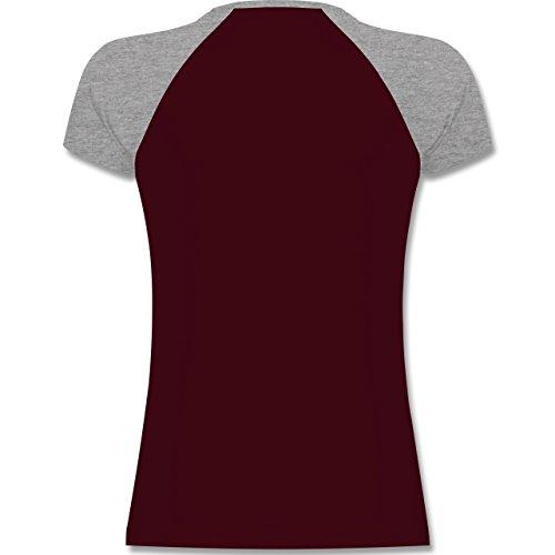 Shirtracer Hunde - Doberman - Zweifarbiges Baseballshirt/Raglan T-Shirt für Damen Burgundrot/Grau meliert