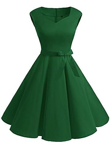 IVNIS Elégant Femme Robe Vintage années 50 60 avec Poche Robe d