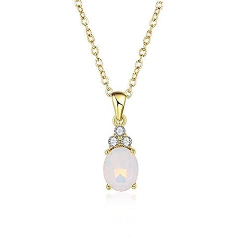 FushoP Collier Crystal Opal Teardrop Pendentif (Plaqué or)
