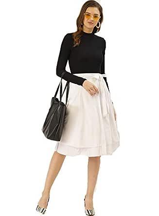 BESIVA Women's White Wrap Skirt