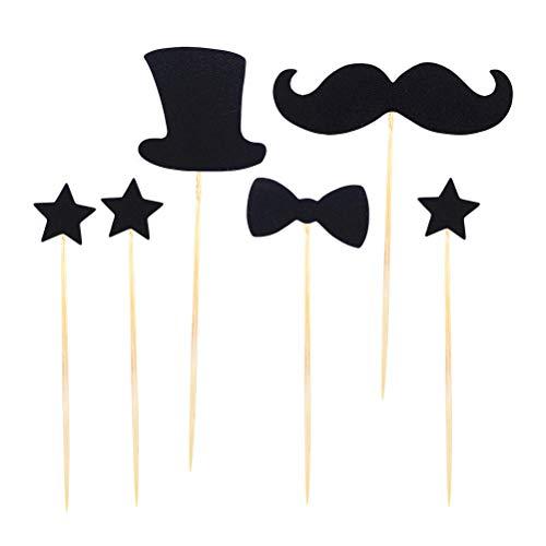 STOBOK 30pcs Nette Kuchen-Deckel-Bart-Hut-Bogen-Form-Kuchen-Einsatz-Karten-Papierkuchen-Dekoration-Satz für Hochzeits-Geburtstagsfeier (Schnurrbart-kuchen-deckel)
