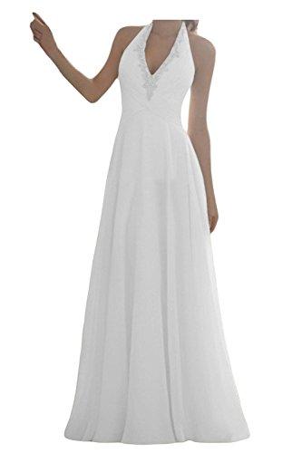 JAEDEN Damen Brautkleider Lang A Linie Chiffon Hochzeitskleid Neckholder Weiß EUR48