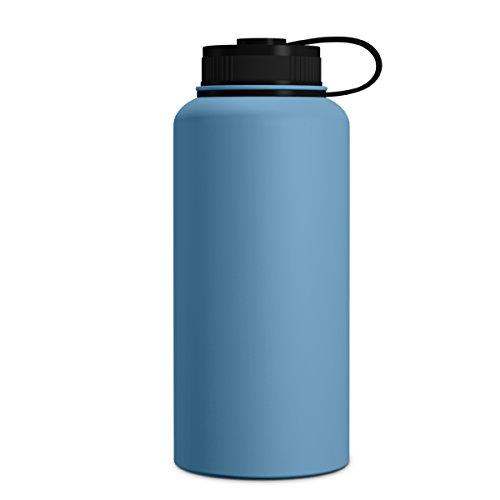 Geo Sport-Wasserflasche, doppelwandig, vakuumisoliert, Edelstahl, auslaufsicher, breite Öffnung, BPA-freier Schraubverschluss, Pacific Blue
