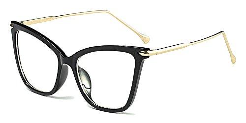 BOZEVON Classico Retrò Moda Lente Trasparente Occhiali da Sole per Donna Occhio di gatto Oversized Occhiali