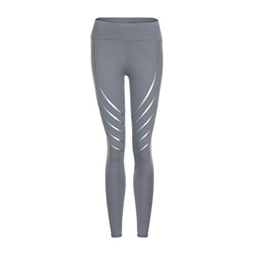 Siswong Femmes Sport Yoga Fitness Leggings Running Gym Pantalon de sport extensible Pantalon Gris