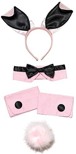 Ladies Sexy Pink Bunny Girl Waitress Role Play Hen Do Night Party Fancy Dress Costume Outfit Accessory - Sexy Bunny Kostüm Kit